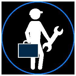 travailleur - clé - valise